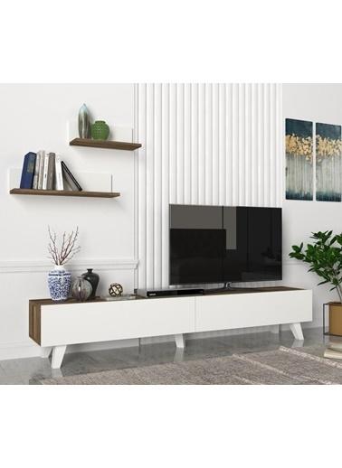 Dekorister Amerika Tv Ünitesi Beyaz-Ceviz Renkli